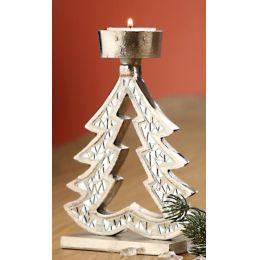 GILDE Kerzenhalter Tannenbaum aus Aluminium mit Spiegelmosaik 17 cm