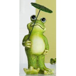 GILDE lustiger Frosch mit Schirm in der Hand aus Keramik, 24 cm
