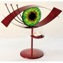 GILDE Metall-Leuchter Visione, rot, grün, 31 x 15 x 31 cm