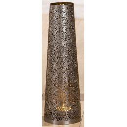 GILDE Metall-Leuchter, konisch, in Silber 14 x 45 cm