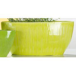 GILDE nostalgische Pflanzschale oval, lemon-grün, 17 x 40 x 18 cm