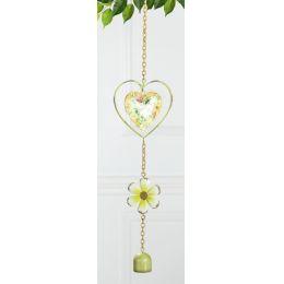 GILDE nostalgischer Deko-Hänger Herz aus Metall, gelb, grün, 48 cm