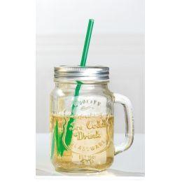 GILDE Party-Glas mit Aludeckel, Henkel und Strohhalm, 7 x 10 x 13 cm
