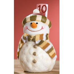GILDE Spardose Schneemann mit grünem Streifen-Hut, 15 cm