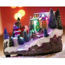 GILDE Spieluhr Winterlandschaft mit Drehscheibe und Wechsel-LED 18 cm