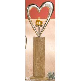GILDE Standrelief Kerzenleuchter Herz aus Alu und Mangoholz, 85 cm