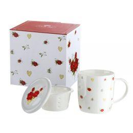 GILDE Tassen Set im Rosendesign aus Knochenporzellan, 300 ml