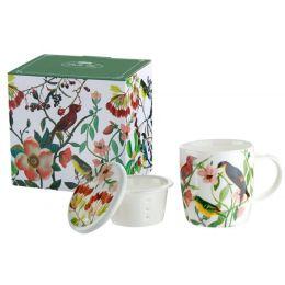 GILDE Tassen Set mit Vogeldekor aus Knochenporzellan, 300 ml