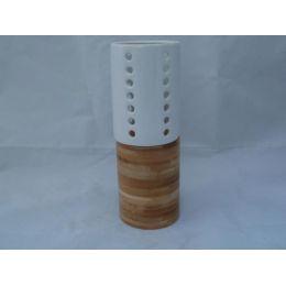 Kerzenhalter aus Holz und Keramik, 19,5 cm hoch