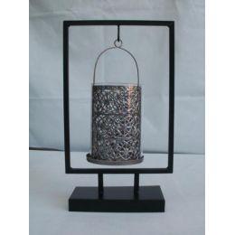 Kerzenhalter aus Metall und Glas, 30,5 cm hoch