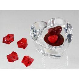 Leuchter aus klarem Glas, Herz, 9 cm