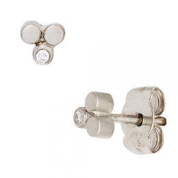 Ohrstecker 950 Platin mattiert 2 Diamanten Brillanten 0,02ct. Ohrringe