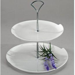 Sandra Rich Etagere in Weiß maus Porzellan, zweistöckig, 25 cm