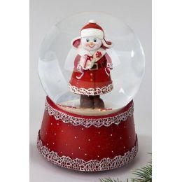 Spieluhr mit Schüttelkugel, rot weiß, Schneemann, Geschenk, 15 cm