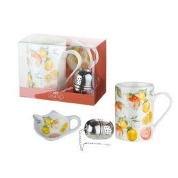 Tassen Set im Orangendesign aus Knochenporzellan und Teeei, 300 ml