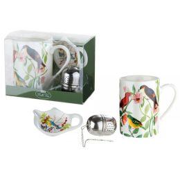 Tassen Set mit Vogeldekor aus Knochenporzellan und Teeei, 300 ml
