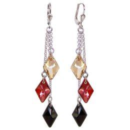 72mm lange Ohrringe aus 925 Silber Rhodium und Swarovski® Kristall, Ohrhänger 3-farbig