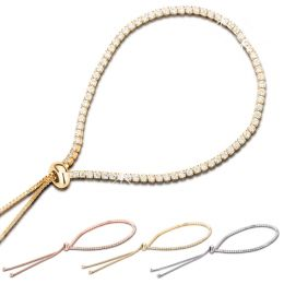 925 Silber Armband mit Schiebeverschluss rundherum mit Zirkonia besetzt