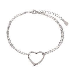 Armband 925 Silber Rhodium mit Herz Symbol Länge variabel