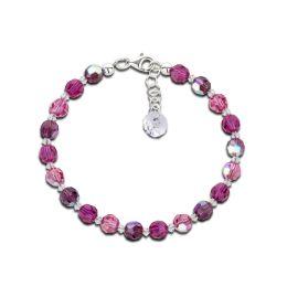 Armband aus 6mm Swarovski® Kristallperlen in fuchsia, pink, lila, Verschluss: 925 Silber