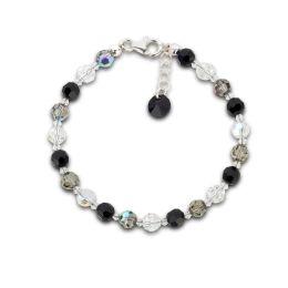 Armband aus 6mm Swarovski® Kristallperlen in schwarz, grau und crystal, Verschluss: 925 Silber