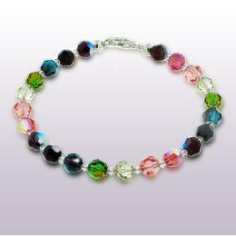 Armband aus 6mm Swarovski® Kristallperlen multicolor bunt, Verschluss: 925 Silber