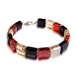 Armband aus Swarovski® Kristall Stairway Bead in schwarz, golden shadow, red magma, 925 Silber