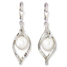 Auffällige Ohrringe aus rhodinierten Sterling Silber und 10mm großer synth. Perle weiß, Ohrhänger