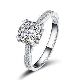 Damen-Ring 925 Sterling Silber rhodiniert mit 8mm großen Zirkonia weiß