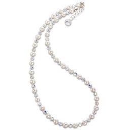 Feine Perlenkette aus Süßwasserperlen und funkelnden Swarovski® Kristall, 925 Silberschließe