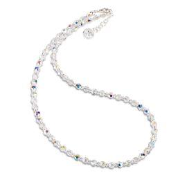 Feines Collier, Halskette aus 4mm Swarovski® Kristallperlen, Farbe: Crystal Aurora Boreale, 925 Silber
