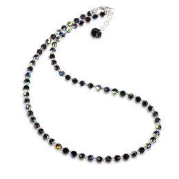 Feines Collier, Halskette aus schwarzen 4mm Swarovski® Kristallperlen mit Farbeffekt, Verschluss 925 Silber