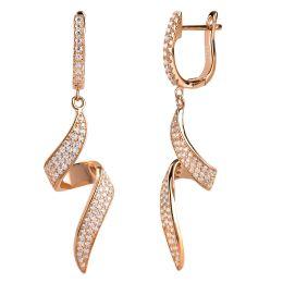 Geschwungene Ohrringe, Ohrhänger aus 925 Silber rosegold und Zirkonia