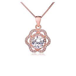 Halskette 925 Silber Rosegold mit Anhänger besetzt mit vielen Zirkonia