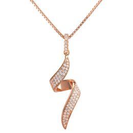 Halskette mit Anhänger geschwungen, 925 Silber rosegold, Zirkonia