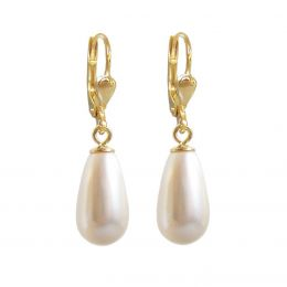 Hochwertig vergoldete Ohrringe mit synth. Perlen in Tropfenform, creme, Gold-Doublé Ohrhänger