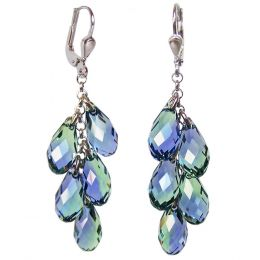 Lange Ohrhänger aus 925 Silber und Swarovski® Kristall Brioletten Traube lavendel und grün