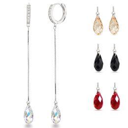 NEU: 8cm lange Ohrringe aus 925 Silber Rhodium Creolen mit 13mm Swarovski® Briolett Kristallen