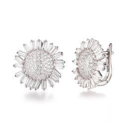 Neu: 925 Silber Ohrringe Ohrstecker Sonnenblume Blüte 18mm groß