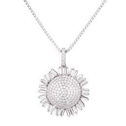 Neu: Anhänger Sonnenblume mit 925 Silberkette rhodiniert