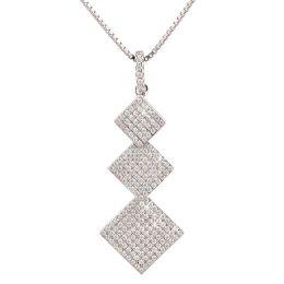 Neu: Halskette mit Anhänger 3x Quadrat Viereck besetzt mit glitzernden Zirkonia, 925 Silber Rhodium