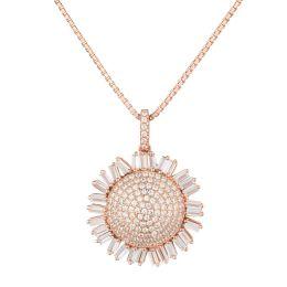 Neu: Halskette mit Anhänger Sonnenblume, 925 Silber rosegold, Zirkonia