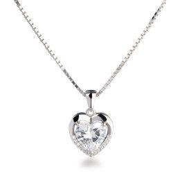 NEU: Halskette mit Herzanhänger klein Zirkonia-Herz 8mm, 925 Silber rhodiniert