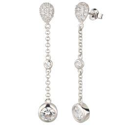 Neu: Lange Ohrringe aus 925 Silber Rhodium mit Zirkonia
