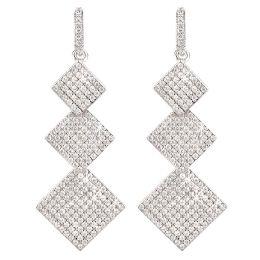 Neu: Ohrringe 925 Silber rhodiniert 3x Quadrat Viereck besetzt mit glitzernden Zirkonia, Ohrhänger eckig 45mm