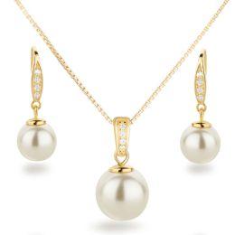 Neu: Schmuckset 925 Silber vergoldet mit Perlen Ohrhänger und Anhänger besetzt mit Zirkonia
