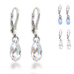 Ohrringe 925 Silber mit kleiner Swarovski® Kristall Briolette, Ohrhänger, auch für Kinder