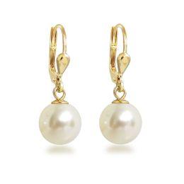 Ohrringe hochwertig vergoldet mit synth. Perle 10mm, Gold-Doublé Ohrhänger Farbwahl