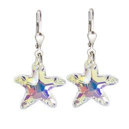 Ohrringe Ohrhänger aus Swarovski® Kristall Seestern und 925 Silber rhodiniert, Farbe Crystal Aurora Boreale