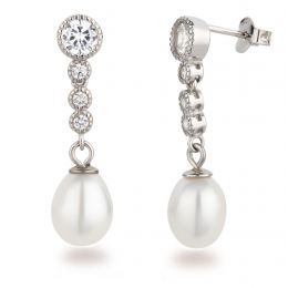 Ohrringe Perlen-Ohrstecker 925 Silber Rhodium mit 4 Zirkonia und Süßwasserperle hängend